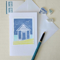 Handmade block printed beach hut blank greeting card - new colourway