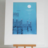 Turning tide and a full moon monoprint in blue and aqua print 1 from a series