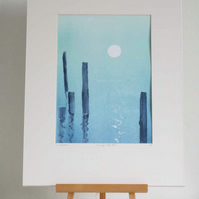Turning tide II original ooak monoprint of the moon glinting on a calm sea