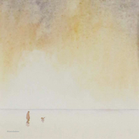 By your side dog walking on a beach at sunset original watercolour painting