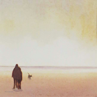 Original watercolour painting dog walkers on the beach at sunset