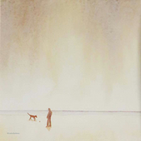 Never alone - walking the dog on the beach original watercolour painting
