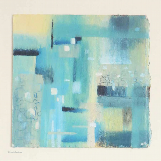 Original abstract painting in turquoise, indigo and yellow