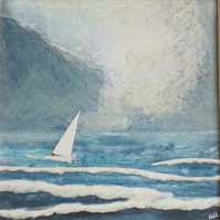 Original sailing in the storm collage and mixed media picture