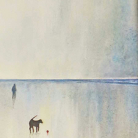 The red ball, original painting walking the dog at the beach at sunset
