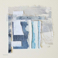 Mixed media and collage storm inspired coastal original abstract