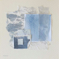 Original mixed media abstract collage inspired by ocean storms in blue and grey