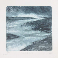 Original collagraph print storm landscape print 2 in an edition of 10