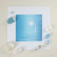 Original monoprint and still life sailing in the moonlight