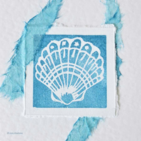 Seashell handmade blank card with handmade paper