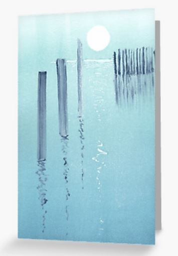 Blank art greeting card ocean and moon reflections