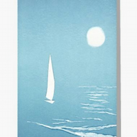 blank art greeting card ocean sailing