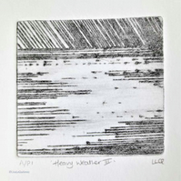 Heavy weather III original drypoint etching print of a storm at sea
