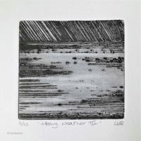 Original drypoint etching print of a storm over the sea - heavy weather 3