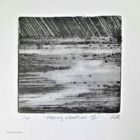 Heavy weather III original drypoint etching print thunderstorm over the sea