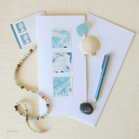 Seasalt and spray an abstract blank art card for adventurers