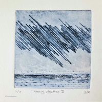 Original drypoint print heavy weather storm at sea