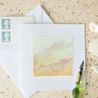 watercolour art card handpainted greeting card sunset and gull