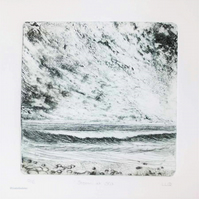 Original collagraph print inspired by a storm gathering over the sea