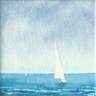 minature watercolour painting yachts sailing on the ocean