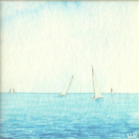 Yachts sailing on the ocean original minature watercolour painting