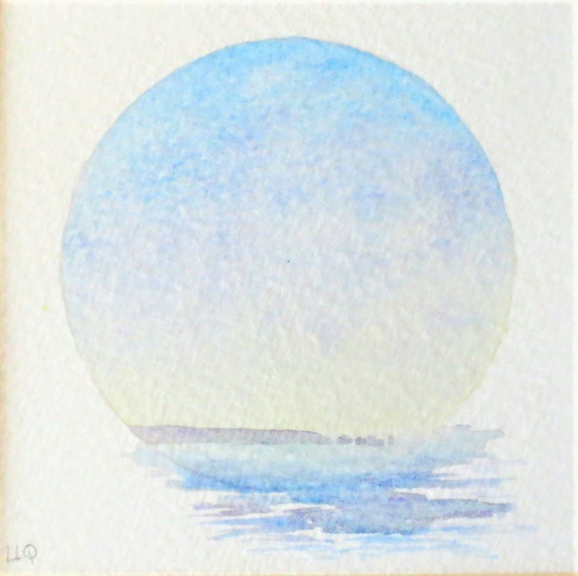 Watercolour vignette sunrise towards the Isle of Wight original painting