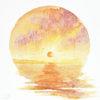 Sunset over the ocean an original watercolour vignette miniature painting coast