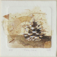 Original dry point print with chine colle of a pine cone