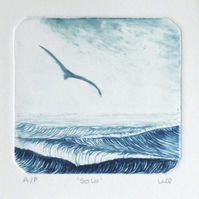 Solo an original drypoint etching of a gull gliding over choppy seas