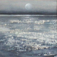 Full moon and shing sea original watercolour painting