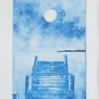 Moonlit jetty to the sea etching print ready to frame
