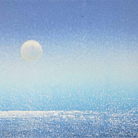Summer evening full moon over the sea an original monoprint with added gouche