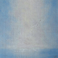 Original acrylic mini painting on linen panel gull flying over the ocean
