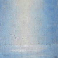 Painting on mini linen panel seagull over the sea coastal beach seaside view