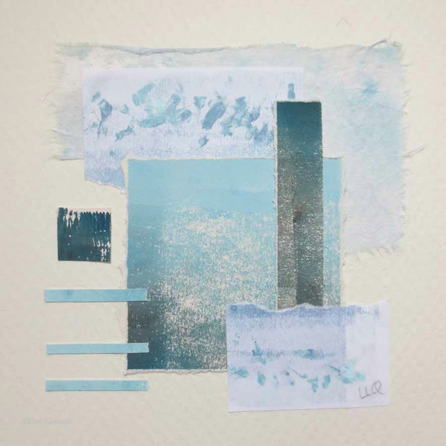 Abstract minimalist marine coastal seaside paper collage in teal and aqua