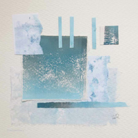 Original coastal inspired minimalist abstract art collage