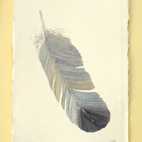 Feather painting original watercolour nature painting