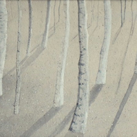 Original watercolour and pencil snow scene birch trees in the forest