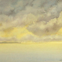 Watercolour coastal painting sea and cloudy sky at sunrise