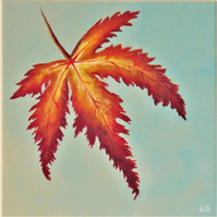 Maple leaf autumn original acrylic painting still life nature art