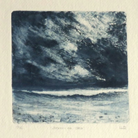 Storm at sea an original collagraph art print ready to frame