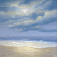 Ocean and moonlit beach and original acrylic painting on canvas panel