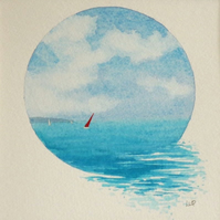 Red Sail II watercolour vignette an original painting ready to frame