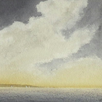 light at the end of a storm original watercolour coastal painting