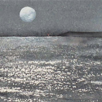 Moon over the ocean original watercolour painting
