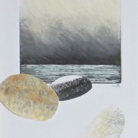 Ocean storm and sky with pebbles an original mixed media and collage picture