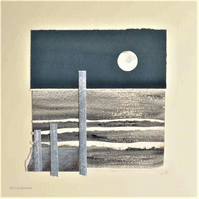 Mixed media collage moon sparkling on the ocean minimalist art