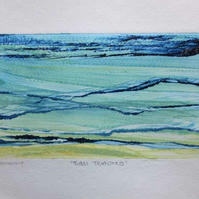 Original abstract monoprint inspired by tidal textures one of a kind print