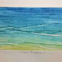 Original drypoint print inspired by the rhythms & textures of the incoming tide