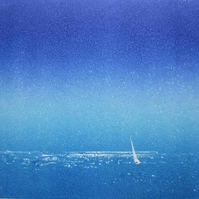 Minimalist mixed media art of a lone sail boat on a summer night